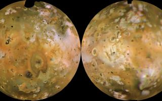 "<h1>PIA00318:  Io Shown in Lambertian Equal Area Projection and in Approximately Natural Color</h1><div class=""PIA00318"" lang=""en"" style=""width:800px;text-align:left;margin:auto;background-color:#000;padding:10px;max-height:150px;overflow:auto;"">Voyager 1 computer color mosaics, shown in approximately natural color and in Lambertian equal-area projections, show the Eastern (left) and Western (right) hemispheres of Io. This innermost of Jupiter's 4 major satellites is the most volcanically active object in the solar system. Io is 2263 mi (3640 km) in diameter, making it a little bigger than Earth's moon. Almost all the features visible here have volcanic origins, including several calderas and eruption plumes that were active at the time of the Voyager 1 encounter.<br /><br /><a href=""http://photojournal.jpl.nasa.gov/catalog/PIA00318"" onclick=""window.open(this.href); return false;"" title=""Voir l'image 	 PIA00318:  Io Shown in Lambertian Equal Area Projection and in Approximately Natural Color	  sur le site de la NASA"">Voir l'image 	 PIA00318:  Io Shown in Lambertian Equal Area Projection and in Approximately Natural Color	  sur le site de la NASA.</a></div>"