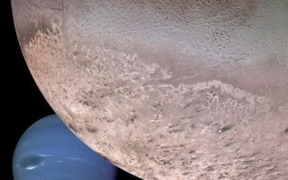 "<h1>PIA00340:  Montage of Neptune and Triton</h1><div class=""PIA00340"" lang=""en"" style=""width:800px;text-align:left;margin:auto;background-color:#000;padding:10px;max-height:150px;overflow:auto;""><p>This computer generated montage shows Neptune as it would appear from a spacecraft approaching Triton, Neptune's largest moon at 2706 km (1683 mi) in diameter. The wind and sublimation-eroded south polar cap of Triton is shown at the bottom of the Triton image, a cryovolcanic terrain at the upper right, and the enigmatic ""cantaloupe terrain"" at the upper left. Triton's surface is mostly covered by nitrogen frost mixed with traces of condensed methane, carbon dioxide, and carbon monoxide. The tenuous atmosphere of Triton, though only about one-hundredth of one percent of Earth's atmospheric density at the surface, is thick enough to produce wind-deposited streaks of dark and bright materials of unknown composition in the south polar cap region. The southern polar cap was sublimating at the time of the Voyager 2 flyby, as indicated by the irregular and eroded appearance of the edge of the cap. The polar frosts were sublimating because Triton's orbital and rotational motion causes the sun to shine directly on the polar cap for a period of several decades during Neptune's and Triton's long austral summer. Though the polar cap was undergoing ""heat death,"" surface temperatures still were only about 38 K (-391 degrees Fahrenheit).<br /><br /><a href=""http://photojournal.jpl.nasa.gov/catalog/PIA00340"" onclick=""window.open(this.href); return false;"" title=""Voir l'image 	 PIA00340:  Montage of Neptune and Triton	  sur le site de la NASA"">Voir l'image 	 PIA00340:  Montage of Neptune and Triton	  sur le site de la NASA.</a></div>"