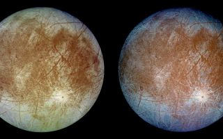 "<h1>PIA00502:  Natural and False Color Views of Europa</h1><div class=""PIA00502"" lang=""en"" style=""width:800px;text-align:left;margin:auto;background-color:#000;padding:10px;max-height:150px;overflow:auto;""><p>This image shows two views of the trailing hemisphere of Jupiter's ice-covered satellite, Europa. The left image shows the approximate natural color appearance of Europa. The image on the right is a false-color composite version combining violet, green and infrared images to enhance color differences in the predominantly water-ice crust of Europa. Dark brown areas represent rocky material derived from the interior, implanted by impact, or from a combination of interior and exterior sources. Bright plains in the polar areas (top and bottom) are shown in tones of blue to distinguish possibly coarse-grained ice (dark blue) from fine-grained ice (light blue). Long, dark lines are fractures in the crust, some of which are more than 3,000 kilometers (1,850 miles) long. The bright feature containing a central dark spot in the lower third of the image is a young impact crater some 50 kilometers (31 miles) in diameter. This crater has been provisionally named ""Pwyll"" for the Celtic god of the underworld.<p>Europa is about 3,160 kilometers (1,950 miles) in diameter, or about the size of Earth's moon. This image was taken on September 7, 1996, at a range of 677,000 kilometers (417,900 miles) by the solid state imaging television camera onboard the Galileo spacecraft during its second orbit around Jupiter. The image was processed by Deutsche Forschungsanstalt fuer Luftund Raumfahrt e.V., Berlin, Germany.<p>The Jet Propulsion Laboratory, Pasadena, CA, manages the mission for NASA's Office of Space Science, Washington, DC.<p>This image and other images and data received from Galileo are posted on the Galileo mission home page on the World Wide Web at http://galileo.jpl.nasa.gov. Background information and educational context for the images can be found at <a href=""http://www2.jpl.nasa.gov/galileo/sepo/"" target=""_blank"">http://www.jpl.nasa.gov/galileo/sepo</a>.<br /><br /><a href=""http://photojournal.jpl.nasa.gov/catalog/PIA00502"" onclick=""window.open(this.href); return false;"" title=""Voir l'image 	 PIA00502:  Natural and False Color Views of Europa	  sur le site de la NASA"">Voir l'image 	 PIA00502:  Natural and False Color Views of Europa	  sur le site de la NASA.</a></div>"