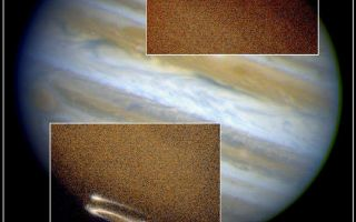 "<h1>PIA01254:  Hubble Provides Complete View of Jupiter's Auroras</h1><div class=""PIA01254"" lang=""en"" style=""width:795px;text-align:left;margin:auto;background-color:#000;padding:10px;max-height:150px;overflow:auto;"">NASA's Hubble Space Telescope has captured a complete view of Jupiter's northern and southern auroras.<p>Images taken in ultraviolet light by the Space Telescope Imaging Spectrograph (STIS) show both auroras, the oval-shaped objects in the inset photos. While the Hubble telescope has obtained images of Jupiter's northern and southern lights since 1990, the new STIS instrument is 10 times more sensitive than earlier cameras. This allows for short exposures, reducing the blurring of the image caused by Jupiter's rotation and providing two to five times higher resolution than earlier cameras. The resolution in these images is sufficient to show the ""curtain"" of auroral light extending several hundred miles above Jupiter's limb (edge). Images of Earth's auroral curtains, taken from the space shuttle, have a similar appearance. Jupiter's auroral images are superimposed on a Wide Field and Planetary Camera 2 image of the entire planet. The auroras are brilliant curtains of light in Jupiter's upper atmosphere. Jovian auroral storms, like Earth's, develop when electrically charged particles trapped in the magnetic field surrounding the planet spiral inward at high energies toward the north and south magnetic poles. When these particles hit the upper atmosphere, they excite atoms and molecules there, causing them to glow (the same process acting in street lights).<p>The electrons that strike Earth's atmosphere come from the sun, and the auroral lights remain concentrated above the night sky in response to the ""solar wind.""<br /><br /><a href=""http://photojournal.jpl.nasa.gov/catalog/PIA01254"" onclick=""window.open(this.href); return false;"" title=""Voir l'image 	 PIA01254:  Hubble Provides Complete View of Jupiter's Auroras	  sur le site de la NASA"">Voir l'image 	 PIA01254:  Hubble Provides Complete View of Jupiter's Auroras	  sur le site de la NASA.</a></div>"