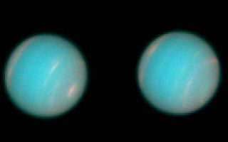 "<h1>PIA01287:  Hubble Space Telescope Wide Field Planetary Camera 2 Observations of Neptune</h1><div class=""PIA01287"" lang=""en"" style=""width:510px;text-align:left;margin:auto;background-color:#000;padding:10px;max-height:150px;overflow:auto;""><p>Two groups have recently used the Hubble Space Telescope (HST) Wide Field Planetary Camera 2 (WFPC 2) to acquire new high-resolution images of the planet Neptune. Members of the WFPC-2 Science Team, lead by John Trauger, acquired the first series of images on 27 through 29 June 1994. These were the highest resolution images of Neptune taken since the Voyager-2 flyby in August of 1989. A more comprehensive program is currently being conducted by Heidi Hammel and Wes Lockwood. These two sets of observations are providing a wealth of new information about the structure, composition, and meteorology of this distant planet's atmosphere.<p>Neptune is currently the most distant planet from the sun, with an orbital radius of 4.5 billion kilometers (2.8 billion miles, or 30 Astronomical Units). Even though its diameter is about four times that of the Earth (49,420 vs. 12,742 km), ground-based telescopes reveal a tiny blue disk that subtends less than 1/1200 of a degree (2.3 arc-seconds). Neptune has therefore been a particularly challenging object to study from the ground because its disk is badly blurred by the Earth's atmosphere. In spite of this, ground-based astronomers had learned a great deal about this planet since its position was first predicted by John C. Adams and Urbain Leverrier in 1845. For example, they had determined that Neptune was composed primarily of hydrogen and helium gas, and that its blue color caused by the presence of trace amounts of the gas methane, which absorbs red light. They had also detected bright cloud features whose brightness changed with time, and tracked these clouds to infer a rotation period between 17 and 22 hours.<p>When the Voyager-2 spacecraft flew past the Neptune in 1989, its instruments revealed a surprising array of meteorological phenomena, including strong winds, bright, high-altitude clouds, and two large dark spots attributed to long-lived giant storm systems. These bright clouds and dark spots were tracked as they moved across the planet's disk, revealing wind speeds as large as 325 meters per second (730 miles per hour). The largest of the giant, dark storm systems, called the ""Great Dark Spot"", received special attention because it resembled Jupiter's Great Red Spot, a storm that has persisted for more than three centuries. The lifetime of Neptune's Great Dark Spot could not be determined from the Voyager data alone, however, because the encounter was too brief. Its evolution was impossible to monitor with ground-based telescopes, because it could not be resolved on Neptune's tiny disk, and its contribution to the disk-integrated brightness of Neptune confused by the presence of a rapidly-varying bright cloud feature, called the ""Bright Companion"" that usually accompanied the Great Dark spot.<p>The repaired Hubble Space Telescope provides new opportunities to monitor these and other phenomena in the atmosphere of the most distant planet. Images taken with WFPC-2's Planetary Camera (PC) can resolve Neptune's disk as well as most ground-based telescopes can resolve the disk of Jupiter. The spatial resolution of the HST WFPC-2 images is not as high as that obtained by the Voyager-2 Narrow-Angle Camera during that spacecraft's closest approach to Neptune, but they have a number of other assets that enhance their scientific value, including improved ultra-violet and infrared sensitivity, better signal-to-noise, and, and greater photometric accuracy.<p>The images of Neptune acquired by the WFPC-2 Science team in late June clearly demonstrate these capabilities. The side of the planet facing the Earth at the start of the program (11:36 Universal Time on July 27) was imaged in color filters spanning the ultraviolet (255 and 300-nm), visible (467, 588, 620, and 673- nm), and near-infrared (890-nm) parts of the spectrum. The planet then rotated 180 degrees in longitude, and the opposite hemisphere was imaged in a subset of these colors (300, 467, 588, 620, and 673-nm). The HST/WFPC-2 program more recently conducted by Hammel and Lockwood provides better longitude coverage, and a wider range of observing times, but uses a more restricted set of colors.<p>The ultraviolet pictures show an almost featureless disk that is slightly darker near the edge. The observed contrast increases in the blue, green, red, and near-infrared images, which reveal many of the features seen by Voyager 2, including the dark band near 60 S latitude and several distinct bright cloud features. The bright cloud features are most obvious in the red and infrared parts of the spectrum where methane gas absorbs most strongly (619 and 890 nm). These bright clouds thought to be high above the main cloud deck, and above much of the absorbing methane gas. The edge of the planet's disk also appears somewhat bright in these colors, indicating the presence of a ubiquitous, high-altitude haze layer.<p>The northern hemisphere is occupied by a single prominent cloud band centered near 30 N latitude. This planet-encircling feature may be the same bright cloud discovered last fall by ground-based observers. Northern hemisphere clouds were much less obvious at the time of the Voyager-2 encounter. The tropics are about 20 % darker than the disk average in the 890-nm images, and one of these images reveals a discrete bright cloud on the equator, near the edge of the disk. The southern hemisphere includes two broken bright bands. The largest and brightest is centered at 30 S latitude, and extends for least 40 degrees of longitude, like the Bright Companion to the Great Dark Spot. There is also a thin cloud band at 45 S latitude, which almost encircles the planet.<p>One feature that is conspicuous by its absence is the storm system known as the Great Dark Spot. The second smaller dark spot, DS2, that was seen during the Voyager-2 encounter was also missing. The absence of these dark spots was one of the biggest surprises of this program. The WFPC-2 Science team initially assumed that the two storm systems might be near the edge of the planet's disk, where they would not be particularly obvious. An analysis of their longitude coverage revealed that less than 20 degrees of longitude had been missed in the colors where these spots had their greatest contrast (467 and 588 nm). The Great Dark Spot covered almost 40 degrees of longitude at the time of the Voyager-2 fly-by. Even if it were on the edge of the disk, it would appear as a ""bite"" out of the limb. Because no such feature was detected, we concluded that these features had vanished. This conclusion was reinforced by the more recent observations by Hammel and Lockwood, which also show no evidence of discrete dark spots.<p>These dramatic changes in the large-scale storm systems and planet-encircling clouds bands on Neptune are not yet completely understood, but they emphasize the dynamic nature of this planet's atmosphere, and the need for further monitoring. Additional HST WFPC-2 observations are planned for next summer. These two teams are continuing their analysis of these data sets to place improved constraints on these and other phenomena in Neptune's atmosphere.<p>Figure Captions:<p>These almost true-color pictures of Neptune were constructed from HST/WFPC2 images taken in blue (467-nm), green (588- nm), and red (673-nm) spectral filters. There is a bright cloud feature at the south pole, near the bottom right of the image. Bright cloud bands can be seen at 30S and 60S latitude. The northern hemisphere also includes a bright cloud band centered near 30N latitude. The second picture was compiled from images taken after the planet had rotated about 180 degrees of longitude (about 9 hours later) to show the opposite hemisphere.<p>The Wide Field/Planetary Camera 2 was developed by the Jet Propulsion Laboratory and managed by the Goddard Space Flight Center for NASA's Office of Space Science.<p>This image and other images and data received from the Hubble Space Telescope are posted on the World Wide Web on the Space Telescope Science Institute home page at URL <a href=""http://oposite.stsci.edu/"" class=""external free"" target=""wpext"">http://oposite.stsci.edu/</a>.<br /><br /><a href=""http://photojournal.jpl.nasa.gov/catalog/PIA01287"" onclick=""window.open(this.href); return false;"" title=""Voir l'image 	 PIA01287:  Hubble Space Telescope Wide Field Planetary Camera 2 Observations of Neptune	  sur le site de la NASA"">Voir l'image 	 PIA01287:  Hubble Space Telescope Wide Field Planetary Camera 2 Observations of Neptune	  sur le site de la NASA.</a></div>"