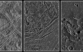 "<h1>PIA01656:  Europa, Ganymede, and Callisto: Surface comparison at high spatial resolution</h1><div class=""PIA01656"" lang=""en"" style=""width:800px;text-align:left;margin:auto;background-color:#000;padding:10px;max-height:150px;overflow:auto;""><p>These images show a comparison of the surfaces of the three icy Galilean satellites, Europa, Ganymede, and Callisto, scaled to a common resolution of 150 meters per picture element (pixel). Despite the similar distance of 0.8 billion kilometers to the sun, their surfaces show dramatic differences. Callisto (with a diameter of 4817 kilometers) is ""peppered"" by impact craters, but is also covered by a dark material layer of so far unknown origin, as seen here in the region of the Asgard multi-ring basin. It appears that this layer erodes or covers small craters. Ganymede's landscape is also widely formed by impacts, but different from Callisto, much tectonic deformation can be observed in the Galileo images, such as these of Nicholson Regio. Ganymede, with a diameter of 5268 kilometers (one-and-a-half times larger than the Earth's moon), is the largest moon in the solar system. Contrary to Ganymede and Callisto, Europa (diameter 3121 kilometers) has a sparsely cratered surface, indicating that geologic activity took place more recently. Globally, ridged plains and the so-called ""mottled terrain"" are the main landforms. In the high-resolution image presented here showing the area around the Agave and Asterius dark lineaments, older ridges dominate the surface, while a small part of the younger mottled terrain is visible to the lower left of the image center.</p><p>While all three moons are believed to be nearly as old as the solar system (4.5 billion years), the age of the surfaces, i.e. the time since the last major geologic activity took place, is still subject to debate. Without having surface samples in hand, the only method to roughly determine a planet's or satellite's geologic surface age is by crater counting. However, assumptions about the impactor fluxes must be made based on theoretical models and possible observations of candidate impactors such as asteroids and comets. Asteroids should have been very common in the early days of the solar system, but this source should have been largely exhausted by about 3.8 billion years before present. For comets, the impactor flux is believed to be rather constant throughout the whole lifetime of the solar system, meaning that the probability of an impact of a large comet is similar today as it was, say, four billion years ago.</p><p>Assuming the asteroids have been the dominant bodies that impacted the Galilean satellites (which is believed to be the case on the Moon, the Earth, and other inner solar system bodies as well as within the asteroid belt itself), the surfaces of Ganymede and Callisto must be old, roughly four billion years. In this case, the Europan surface would by comparison have a mean age of one-hundred to several-hundred million years. Low-level geologic activity on Europa might be possible, but Ganymede and Callisto should be geologically dead. Assuming on the other hand that comets have been the main impactors in the Jovian system, Callisto's surface would still be determined to be old, but Ganymede's youngest large craters would have been created only about one billion years ago. Europa's surface in this model should be very young, with this satellite being geologically quite active even today.</p><p>The images were taken by the Solid State Imaging (SSI) system on NASA's Galileo spacecraft. They were processed by the Institute of Planetary Exploration of the German Aerospace Center (DLR) in Berlin, Germany, and scaled to a size of 150 meters per pixel (m/pixel). North is up in all images. The spatial resolution of the original data was 180 m/pixel for Europa and Ganymede and 90 m/pixel for Callisto. The Europa image was taken during Galileo's 6th orbit, the Ganymede image during the 7th, and the Callisto image during the 10th orbit.</p><p>The Jet Propulsion Laboratory, Pasadena, CA manages the Galileo mission for NASA's Office of Space Science, Washington, DC.</p><p>This image and other images and data received from Galileo are posted on the World Wide Web, on the Galileo mission home page at URL <a href=""http://solarsystem.nasa.gov/galileo/"" target=""_blank"">http://solarsystem.nasa.gov/galileo/</a>. Background information and educational context for the images can be found at URL <a href=""http://www2.jpl.nasa.gov/galileo/sepo/"" target=""_blank"">http://www.jpl.nasa.gov/galileo/sepo</a><br /><br /><a href=""http://photojournal.jpl.nasa.gov/catalog/PIA01656"" onclick=""window.open(this.href); return false;"" title=""Voir l'image 	 PIA01656:  Europa, Ganymede, and Callisto: Surface comparison at high spatial resolution	  sur le site de la NASA"">Voir l'image 	 PIA01656:  Europa, Ganymede, and Callisto: Surface comparison at high spatial resolution	  sur le site de la NASA.</a></div>"