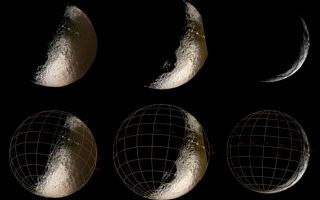 "<h1>PIA06145:  Waning Iapetus</h1><div class=""PIA06145"" lang=""en"" style=""width:800px;text-align:left;margin:auto;background-color:#000;padding:10px;max-height:150px;overflow:auto;""><p>These spectacular Cassini images of Saturn's moon Iapetus show an enticing world of contrasts.</p><p>These are the sharpest views of Iapetus from Cassini so far, and they represent better resolution than the best images of this moon achieved by NASA's Voyager spacecraft. Images obtained using ultraviolet (centered at 338 nanometers), green (568 nanometers) and infrared (930 nanometers) filters were combined to produce the enhanced color views at left and center; the image at the right was obtained in visible white light. The images on the bottom row are identical to those on top, with the addition of an overlying coordinate grid.</p><p>These views show parts of the moon's anti-Saturn side--the side that faces away from the ringed planet--which will not be imaged again by Cassini until Sept., 2007. In the central view, part of the moon's eastern edge was not imaged and appears to be cut off.</p><p>With a diameter of 1,436 kilometers (892 miles), Iapetus is Saturn's third largest moon. It is famous for the dramatic contrasts in brightness on its surface--the leading hemisphere is as dark as a freshly-tarred street, and the trailing hemisphere and poles almost as bright as snow.</p><p>Many impact craters can be seen in the bright terrain and in the transition zone between bright and dark, and for the first time in parts of the dark terrain. Also visible is a line of mountains that appear as a string of bright dots in the two color images at left, and on the eastern limb in the image at right. These mountains were originally detected in Voyager images, and might compete in height with the tallest mountains on Earth, Jupiter's moon Io and possibly even Mars. Further observations will be required to precisely determine their heights. Interestingly, the line of peaks is aligned remarkably close to the equator of Iapetus.</p><p>The large circular feature rotating into view in the southern hemisphere is probably an impact structure with a diameter of more than 400 kilometers (250 miles), and was first seen in low-resolution Cassini images just two months earlier.</p><p>Theses images were taken with the Cassini spacecraft narrow angle camera between Oct, 15 and 20, 2004, at distances of 1.2, 1.1 and 1.3 million kilometers (746,000, 684,000 and 808,000 miles) from Iapetus, respectively. The Sun-Iapetus-spacecraft, or phase, angle changes from 88 to 144 degrees across the three images. The image scale is approximately 7 kilometers (4.5 miles) per pixel.</p><p>The Cassini-Huygens mission is a cooperative project of NASA, the European Space Agency and the Italian Space Agency. The Jet Propulsion Laboratory, a division of the California Institute of Technology in Pasadena, manages the Cassini-Huygens mission for NASA's Office of Space Science, Washington, D.C. The Cassini orbiter and its two onboard cameras, were designed, developed and assembled at JPL. The imaging team is based at the Space Science Institute, Boulder, Colo.</p><p>For more information, about the Cassini-Huygens mission visit, <a href=""http://saturn.jpl.nasa.gov/"">http://saturn.jpl.nasa.gov</a> and the Cassini imaging team home page, <a href=""http://ciclops.org/"">http://ciclops.org</a>.</p><br /><br /><a href=""http://photojournal.jpl.nasa.gov/catalog/PIA06145"" onclick=""window.open(this.href); return false;"" title=""Voir l'image 	 PIA06145:  Waning Iapetus	  sur le site de la NASA"">Voir l'image 	 PIA06145:  Waning Iapetus	  sur le site de la NASA.</a></div>"