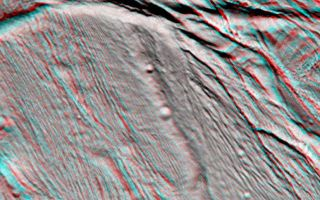 "<h1>PIA06189:  Cassini Views Enceladus in Stereo</h1><div class=""PIA06189"" lang=""en"" style=""width:774px;text-align:left;margin:auto;background-color:#000;padding:10px;max-height:150px;overflow:auto;""><p>The Cassini narrow angle camera took images of the ropy, taffy-like topography of Saturn's moon Enceladus from many different angles as the spacecraft flew by on Feb. 17, 2005. Images from different directions allow construction of stereo views such as this, which are helpful in interpreting the complex topography.</p><p>This view of an area about 60 kilometers (37 miles) across shows several different kinds of ridge-and-trough topography, indicative of a variety of horizontal forces near the surface of this 505-kilometer (314-mile) diameter satellite.</p><p>Several different kinds of deformation are visible, and a small population of impact craters shows that this is some of the younger terrain on Enceladus. Sunlight illuminates the scene from the bottom.</p><p>Interestingly, the topographic relief is only about one kilometer, which is quite low for a small, low-gravity satellite. However, this is consistent with other evidence that points to interior melting and resurfacing in Enceladus' history.</p><p>The images for this anaglyph were taken in visible light with the narrow angle camera, from distances ranging from 10,750 kilometers (6,680 miles, red image) to 24,861 kilometers (15,448 miles, blue image) from Enceladus, and at Sun-Enceladus-spacecraft, or phase, angles from 32 to 27 degrees. Pixel scale in the red image is 60 meters (197 feet) per pixel; scale in the blue image is 150 meters (492 feet) per pixel. The images have been contrast-enhanced to aid visibility.</p><p>A separate, non-stereo version of the scene, showing only the red image is also available (see <a href=""/catalog/PIA06190"">PIA06190</a>). </p><p>The Cassini-Huygens mission is a cooperative project of NASA, the European Space Agency and the Italian Space Agency. The Jet Propulsion Laboratory, a division of the California Institute of Technology in Pasadena, manages the mission for NASA's Science Mission Directorate, Washington, D.C. The Cassini orbiter and its two onboard cameras were designed, developed and assembled at JPL. The imaging team is based at the Space Science Institute, Boulder, Colo.</p><p>For more information about the Cassini-Huygens mission, visit <a href=""http://saturn.jpl.nasa.gov"">http://saturn.jpl.nasa.gov</a> and the Cassini imaging team home page, <a href=""http://ciclops.org"">http://ciclops.org</a>.</p><br /><br /><a href=""http://photojournal.jpl.nasa.gov/catalog/PIA06189"" onclick=""window.open(this.href); return false;"" title=""Voir l'image 	 PIA06189:  Cassini Views Enceladus in Stereo	  sur le site de la NASA"">Voir l'image 	 PIA06189:  Cassini Views Enceladus in Stereo	  sur le site de la NASA.</a></div>"