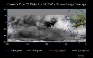 "<h1>PIA06218:  Cassini's April 16 Flyby of Titan</h1><div class=""PIA06218"" lang=""en"" style=""width:800px;text-align:left;margin:auto;background-color:#000;padding:10px;max-height:150px;overflow:auto;""><p>This map of Titan's surface illustrates the regions that will be imaged by Cassini during the spacecraft's close flyby of the smog-enshrouded moon on April 16, 2005. At closest approach, the spacecraft is expected to pass approximately 1,025 kilometers (640 miles) above the moon's surface.</p><p>The colored lines delineate the regions that will be imaged at differing resolutions. </p><p>Images from this encounter will add to those taken during the March 31, 2005, flyby and improve the moderate resolution coverage of this region. The imaging coverage will include the eastern portion of territory observed by Cassini's radar instrument in October 2004 and February 2005, and will provide a way to compare the surface as viewed by the different instruments. Such comparisons (see <a href=""/catalog/PIA06222"">PIA06222</a>) will provide insight into the nature of Titan's surface.</p><p>The higher-resolution (yellow boxes) have been spread out around a central mosaic in order to maximize coverage of this region by the visual and infrared mapping spectrometer which will be observing simultaneously with the cameras of the imaging science subsystem.</p><p>The map shows only brightness variations on Titan's surface (the illumination is such that there are no shadows and no shading due to topographic variations). Previous observations indicate that, due to Titan's thick, hazy atmosphere, the sizes of surface features that can be resolved are a few times larger than the actual pixel scale labeled on the map.</p><p>The images for this global map were obtained using a narrow band filter centered at 938 nanometers-- a near-infrared wavelength (invisible to the human eye). At this wavelength, light can penetrate Titan's atmosphere to reach the surface and return through the atmosphere to be detected by the camera. The images have been processed to enhance surface details.</p><p>It is currently northern winter on Titan, so the moon's high northern latitudes are not illuminated, resulting in the lack of coverage north of 35 degrees north latitude.</p><p>At 5,150 kilometers (3,200 miles) across, Titan is one of the solar system's largest moons.</p><p>The Cassini-Huygens mission is a cooperative project of NASA, the European Space Agency and the Italian Space Agency. The Jet Propulsion Laboratory, a division of the California Institute of Technology in Pasadena, manages the mission for NASA's Science Mission Directorate, Washington, D.C. The Cassini orbiter and its two onboard cameras were designed, developed and assembled at JPL. The imaging team is based at the Space Science Institute, Boulder, Colo.</p><p>For more information about the Cassini-Huygens mission visit <a href=""http://saturn.jpl.nasa.gov"">http://saturn.jpl.nasa.gov</a>. For additional images visit the Cassini imaging team homepage <a href=""http://ciclops.org"">http://ciclops.org</a>.</p><br /><br /><a href=""http://photojournal.jpl.nasa.gov/catalog/PIA06218"" onclick=""window.open(this.href); return false;"" title=""Voir l'image 	 PIA06218:  Cassini's April 16 Flyby of Titan	  sur le site de la NASA"">Voir l'image 	 PIA06218:  Cassini's April 16 Flyby of Titan	  sur le site de la NASA.</a></div>"