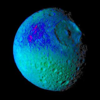 "<h1>PIA06259:  Mimas Showing False Colors #2</h1><div class=""PIA06259"" lang=""en"" style=""width:583px;text-align:left;margin:auto;background-color:#000;padding:10px;max-height:150px;overflow:auto;""><p>This false color image of Saturn's moon Mimas reveals variation in either the composition or texture across its surface.</p><p>During its approach to Mimas on Aug. 2, 2005, the Cassini spacecraft narrow-angle camera obtained multi-spectral views of the moon from a range of 228,000 kilometers (142,500 miles).  </p><p>This image is a color composite of narrow-angle ultraviolet, green, infrared and clear filter images, which have been specially processed to accentuate subtle changes in the spectral properties of Mimas' surface materials. To create this view, three color images (ultraviolet, green and infrared) were combined with a single black and white picture that isolates and maps regional color differences to create the final product.</p><p>Shades of blue and violet in the image at the right are used to identify surface materials that are bluer in color and have a weaker infrared brightness than average Mimas materials, which are represented by green.</p><p>Herschel crater, a 140-kilometer-wide (88-mile) impact feature with a prominent central peak, is visible in the upper right of the image. The unusual bluer materials are seen to broadly surround Herschel crater.  However, the bluer material is not uniformly distributed in and around the crater.  Instead, it appears to be concentrated on the outside of the crater and more to the west than to the north or south.  The origin of the color differences is not yet understood.  It may represent ejecta material that was excavated from inside Mimas when the Herschel impact occurred.  The bluer color of these materials may be caused by subtle differences in the surface composition or the sizes of grains making up the icy soil.</p><p>This image was obtained when the Cassini spacecraft was above 25 degrees south, 134 degrees west latitude and longitude.  The Sun-Mimas-spacecraft angle was 45 degrees and north is at the top.</p><p>The Cassini-Huygens mission is a cooperative project of NASA, the European Space Agency and the Italian Space Agency.  The Jet Propulsion Laboratory, a division of the California Institute of Technology in Pasadena, manages the mission for NASA's Science Mission Directorate, Washington, D.C. The Cassini orbiter and its two onboard cameras were designed, developed and assembled at JPL.  The imaging operations center is based at the Space Science Institute in Boulder, Colo.</p><p>For more information about the Cassini-Huygens mission visit http://saturn.jpl.nasa.gov . The Cassini imaging team homepage is at http://ciclops.org .</p><br /><br /><a href=""http://photojournal.jpl.nasa.gov/catalog/PIA06259"" onclick=""window.open(this.href); return false;"" title=""Voir l'image 	 PIA06259:  Mimas Showing False Colors #2	  sur le site de la NASA"">Voir l'image 	 PIA06259:  Mimas Showing False Colors #2	  sur le site de la NASA.</a></div>"