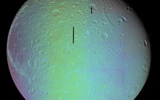 "<h1>PIA07747:  Dione in Full View - False Color</h1><div class=""PIA07747"" lang=""en"" style=""width:800px;text-align:left;margin:auto;background-color:#000;padding:10px;max-height:150px;overflow:auto;""><p>The cratered and cracked disk of Saturn's moon Dione looms ahead in this mosaic of images taken by Cassini on Oct. 11, 2005, as it neared its close encounter with the icy moon.</p><p>In this false-color mosaic, the clear-filter images are overlain by color composited from (compressed) infrared, green and ultraviolet images. The colors have been specially processed to accentuate subtle changes in the spectral properties of Dione's surface materials.</p><p>To create the color view, the color images were combined into a single black and white picture that isolates and maps regional color differences. This ""color map"" was then superimposed over the clear-filter mosaic. Gaps in the imaging coverage appear black.</p><p>Multiple generations of tectonics can be seen in this full-disk view. Near the eastern limb (at the right) are tectonic fractures, which may be similar to the bright, braided canyons that make up Dione's noted wispy terrain. Some of the bright, wispy markings can be seen at the left.</p><p>The softer ridges and troughs at the upper right appear to be about the same age as the cratering seen in that region. These appear to be older than the fracturing seen in the wispy terrain and the fractures seen at the right. </p><p>Scientists continue to be intrigued by the strikingly linear features seen crisscrossing the southern latitudes. The fine latitudinal streaks appear to crosscut everything, and appear to be the youngest feature type in this region of Dione.</p><p>A large impact basin hugs the south polar region (at the bottom, right of center). Northeast of the basin is a region of terrain that is relatively smooth, compared to the rest of the moon.</p><p>This view of Dione is centered on 1.3 degrees south latitude, 167.6 degrees west longitude. For a clear-filter view see <a href=""/catalog/PIA07746"">PIA07746</a>.</p><p>The images in the mosaic were obtained with the Cassini spacecraft narrow-angle camera at distances ranging from of 55,280 to 27,180 kilometers (34,350 to 16,890 miles) from Dione. The full-size versions of the mosaics have an image scale of 316 meters (1,036 feet) per pixel. </p><p>The Cassini-Huygens mission is a cooperative project of NASA, the European Space Agency and the Italian Space Agency. The Jet Propulsion Laboratory, a division of the California Institute of Technology in Pasadena, manages the mission for NASA's Science Mission Directorate, Washington, D.C. The Cassini orbiter and its two onboard cameras were designed, developed and assembled at JPL. The imaging operations center is based at the Space Science Institute in Boulder, Colo.</p><p>For more information about the Cassini-Huygens mission visit <a href=""http://saturn.jpl.nasa.gov"">http://saturn.jpl.nasa.gov</a>. The Cassini imaging team homepage is at <a href=""http://ciclops.org"">http://ciclops.org</a>.</p><br /><br /><a href=""http://photojournal.jpl.nasa.gov/catalog/PIA07747"" onclick=""window.open(this.href); return false;"" title=""Voir l'image 	 PIA07747:  Dione in Full View - False Color	  sur le site de la NASA"">Voir l'image 	 PIA07747:  Dione in Full View - False Color	  sur le site de la NASA.</a></div>"