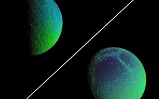 "<h1>PIA07769:  Color Variation Across Rhea and Dione</h1><div class=""PIA07769"" lang=""en"" style=""width:800px;text-align:left;margin:auto;background-color:#000;padding:10px;max-height:150px;overflow:auto;""><p>Saturn's cratered, icy moons, Rhea and Dione, come alive with vibrant color that reveals new information about their surface properties.</p><p>To create these false-color views, ultraviolet, green and infrared images were combined into a single black and white picture that isolates and maps regional color differences. This ""color map"" was then superimposed over a clear-filter image of each moon.</p><p>The combination of color map and brightness image shows how the colors vary across the moon's surface in relation to geologic features. The origin of the color differences is not yet understood, but may be caused by subtle differences in the surface composition or the sizes of grains making up the icy soil.</p><p>The Rhea view is a two-image mosaic. Images in the mosaic were acquired on Aug. 1, 2005, at a mean distance of 214,700 kilometers (133,400 miles) from Rhea and at a Sun-Rhea-spacecraft, or phase, angle of 88 degrees. Image scale is 1.3 kilometers (0.8 miles) per pixel.</p><p>The mosaic shows terrain on the trailing hemisphere of Rhea (1,528 kilometers, or 949 miles across), and is centered on 42 degrees south latitude. North is up and rotated 28 degrees to the left.</p><p>Images in the Dione false-color view were acquired on Aug. 1, 2005, at a mean distance of 267,600 kilometers (166,300 miles) from Dione. Image scale is 1.6 kilometers (1 mile) per pixel.</p><p>The image shows terrain on the trailing hemisphere of Dione (1,126 kilometers, or 700 miles across), and is centered on 41 degrees south latitude. North is up.</p><p>The images have not been scaled to show the moons' proper relative sizes. </p><p>The Cassini-Huygens mission is a cooperative project of NASA, the European Space Agency and the Italian Space Agency. The Jet Propulsion Laboratory, a division of the California Institute of Technology in Pasadena, manages the mission for NASA's Science Mission Directorate, Washington, D.C. The Cassini orbiter and its two onboard cameras were designed, developed and assembled at JPL. The imaging operations center is based at the Space Science Institute in Boulder, Colo.</p></p>For more information about the Cassini-Huygens mission visit <a href=""http://saturn.jpl.nasa.gov"">http://saturn.jpl.nasa.gov</a>. The Cassini imaging team homepage is at <a href=""http://ciclops.org"">http://ciclops.org</a>.</p><br /><br /><a href=""http://photojournal.jpl.nasa.gov/catalog/PIA07769"" onclick=""window.open(this.href); return false;"" title=""Voir l'image 	 PIA07769:  Color Variation Across Rhea and Dione	  sur le site de la NASA"">Voir l'image 	 PIA07769:  Color Variation Across Rhea and Dione	  sur le site de la NASA.</a></div>"