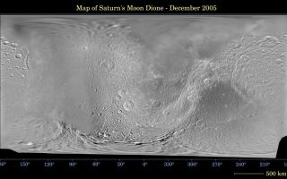"<h1>PIA07776:  Map of Dione -- December 2005</h1><div class=""PIA07776"" lang=""en"" style=""width:800px;text-align:left;margin:auto;background-color:#000;padding:10px;max-height:150px;overflow:auto;""><p>This global digital map of Saturn's moon Dione was created using data taken during Cassini and Voyager spacecraft flybys. The map is an equidistant projection and has a scale of 977 meters (3,205 feet) per pixel.</p><p>The mean radius of Dione used for projection of this map is 560 kilometers (348 miles). The resolution of the map is 10 pixels per degree.</p><p>The Cassini-Huygens mission is a cooperative project of NASA, the European Space Agency and the Italian Space Agency. The Jet Propulsion Laboratory, a division of the California Institute of Technology in Pasadena, manages the mission for NASA's Science Mission Directorate, Washington, D.C. The Cassini orbiter and its two onboard cameras were designed, developed and assembled at JPL. The imaging operations center is based at the Space Science Institute in Boulder, Colo.</p><p>For more information about the Cassini-Huygens mission visit <a href=""http://saturn.jpl.nasa.gov"">http://saturn.jpl.nasa.gov</a>. The Cassini imaging team homepage is at <a href=""http://ciclops.org"">http://ciclops.org</a>.</p><br /><br /><a href=""http://photojournal.jpl.nasa.gov/catalog/PIA07776"" onclick=""window.open(this.href); return false;"" title=""Voir l'image 	 PIA07776:  Map of Dione -- December 2005	  sur le site de la NASA"">Voir l'image 	 PIA07776:  Map of Dione -- December 2005	  sur le site de la NASA.</a></div>"