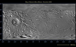 "<h1>PIA07779:  Map of Mimas -- December 2005</h1><div class=""PIA07779"" lang=""en"" style=""width:800px;text-align:left;margin:auto;background-color:#000;padding:10px;max-height:150px;overflow:auto;""><p>This global digital map of Saturn's moon Mimas was created using data taken during Cassini and Voyager spacecraft flybys. The map is an equidistant projection and has a scale of 434 meters (1,424 feet) per pixel.</p><p>The mean radius of Mimas used for projection of this map is 199 kilometers (124 miles). The resolution of the map is 8 pixels per degree.</p><p>The Cassini-Huygens mission is a cooperative project of NASA, the European Space Agency and the Italian Space Agency. The Jet Propulsion Laboratory, a division of the California Institute of Technology in Pasadena, manages the mission for NASA's Science Mission Directorate, Washington, D.C. The Cassini orbiter and its two onboard cameras were designed, developed and assembled at JPL. The imaging operations center is based at the Space Science Institute in Boulder, Colo.</p><p>For more information about the Cassini-Huygens mission visit <a href=""http://saturn.jpl.nasa.gov"">http://saturn.jpl.nasa.gov</a>. The Cassini imaging team homepage is at <a href=""http://ciclops.org"">http://ciclops.org</a>.</p><br /><br /><a href=""http://photojournal.jpl.nasa.gov/catalog/PIA07779"" onclick=""window.open(this.href); return false;"" title=""Voir l'image 	 PIA07779:  Map of Mimas -- December 2005	  sur le site de la NASA"">Voir l'image 	 PIA07779:  Map of Mimas -- December 2005	  sur le site de la NASA.</a></div>"