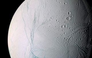 "<h1>PIA07800:  Enceladus the Storyteller</h1><div class=""PIA07800"" lang=""en"" style=""width:800px;text-align:left;margin:auto;background-color:#000;padding:10px;max-height:150px;overflow:auto;""><p>A masterpiece of deep time and wrenching gravity, the tortured surface of Saturn's moon Enceladus and its fascinating ongoing geologic activity tell the story of the ancient and present struggles of one tiny world. This is a story that is recounted by imaging scientists in a paper published in the journal Science on March 10, 2006.</p><p>The enhanced color view of Enceladus seen here is largely of the southern hemisphere and includes the south polar terrain at the bottom of the image. </p><p>Ancient craters remain somewhat pristine in some locales, but have clearly relaxed in others. Northward-trending fractures, likely caused by a change in the moon's rate of rotation and the consequent flattening of the moon's shape, rip across the southern hemisphere. The south polar terrain is marked by a striking set of `blue' fractures and encircled by a conspicuous and continuous chain of folds and ridges, testament to the forces within Enceladus that have yet to be silenced.</p><p>The mosaic was created from 21 false-color frames taken during the Cassini spacecraft's close approaches to Enceladus on March 9 and July 14, 2005. Images taken using filters sensitive to ultraviolet, visible and infrared light (spanning wavelengths from 338 to 930 nanometers) were combined to create the individual frames.<p>The mosaic is an orthographic projection centered at 46.8 degrees south latitude, 188 degrees west longitude, and has an image scale of 67 meters (220 feet) per pixel. The original images ranged in resolution from 67 meters per pixel to 350 meters (1,150 feet) per pixel and were taken at distances ranging from 11,100 to 61,300 kilometers (6,900 to miles) from Enceladus. </p><p>The Cassini-Huygens mission is a cooperative project of NASA, the European Space Agency and the Italian Space Agency.  The Jet Propulsion Laboratory, a division of the California Institute of Technology in Pasadena, manages the mission for NASA's Science Mission Directorate, Washington, D.C. The Cassini orbiter and its two onboard cameras were designed, developed and assembled at JPL.  The imaging operations center is based at the Space Science Institute in Boulder, Colo.</p><p>For more information about the Cassini-Huygens mission visit <a href=""http://saturn.jpl.nasa.gov"">http://saturn.jpl.nasa.gov/home/index.cfm</a>. The Cassini imaging team homepage is at <a href=""http://ciclops.org"">http://ciclops.org</a>.</p><br /><br /><a href=""http://photojournal.jpl.nasa.gov/catalog/PIA07800"" onclick=""window.open(this.href); return false;"" title=""Voir l'image 	 PIA07800:  Enceladus the Storyteller	  sur le site de la NASA"">Voir l'image 	 PIA07800:  Enceladus the Storyteller	  sur le site de la NASA.</a></div>"