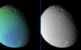"<h1>PIA08284:  Transition on Tethys</h1><div class=""PIA08284"" lang=""en"" style=""width:800px;text-align:left;margin:auto;background-color:#000;padding:10px;max-height:150px;overflow:auto;""><p>An extreme false-color view of Tethys reveals a surface detail not visible in a monochrome view taken at the same time.</p><p>The false-color view shows a color transition from the moon's Saturn-facing side (at left) to a region its trailing side (at bottom).</p><p>Near the top of the images, the central-peaked crater Telemachus lies in the deeply grooved terrain that marks the northern reaches of Ithaca Chasma.</p><p>To create the false-color view, ultraviolet, green and infrared images were combined into a single picture that isolates and maps regional color differences. This ""color map"" was then superposed over a clear-filter image that preserves the relative brightness across the body.</p><p>The combination of color map and brightness image shows how colors vary across Tethys' surface. The origin of the color differences is not yet understood, but may be caused by subtle differences in the surface composition or the sizes of grains making up the icy surface material.</p><p>The monochrome image was taken using a clear filter.</p><p>North on Tethys (1,071 kilometers, or 665 miles across) is up and rotated 36 degrees to the right.</p><p>The images used to create this view were acquired using the Cassini spacecraft narrow-angle camera on Sept. 9, 2006 at a distance of approximately 221,000 kilometers (137,000 miles) from Tethys and at a Sun-Tethys-spacecraft, or phase, angle of 52 degrees. Image scale is 1 kilometer (4,332 feet) per pixel.</p><p>The Cassini-Huygens mission is a cooperative project of NASA, the European Space Agency and the Italian Space Agency. The Jet Propulsion Laboratory, a division of the California Institute of Technology in Pasadena, manages the mission for NASA's Science Mission Directorate, Washington, D.C. The Cassini orbiter and its two onboard cameras were designed, developed and assembled at JPL. The imaging operations center is based at the Space Science Institute in Boulder, Colo.</p><p>For more information about the Cassini-Huygens mission visit <a href=""http://saturn.jpl.nasa.gov"">http://saturn.jpl.nasa.gov/home/index.cfm</a>. The Cassini imaging team homepage is at <a href=""http://ciclops.org"">http://ciclops.org</a>.</p><br /><br /><a href=""http://photojournal.jpl.nasa.gov/catalog/PIA08284"" onclick=""window.open(this.href); return false;"" title=""Voir l'image 	 PIA08284:  Transition on Tethys	  sur le site de la NASA"">Voir l'image 	 PIA08284:  Transition on Tethys	  sur le site de la NASA.</a></div>"