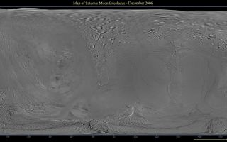 "<h1>PIA08342:  Map of Enceladus - December 2006</h1><div class=""PIA08342"" lang=""en"" style=""width:800px;text-align:left;margin:auto;background-color:#000;padding:10px;max-height:150px;overflow:auto;""><p>This global digital map of Saturn's moon Enceladus was created using data taken by the Cassini spacecraft, with gaps in coverage filled in by NASA Voyager spacecraft data. The map is an equidistant projection and has a scale of 300 meters (980 feet) per pixel. Equidistant projections preserve distances on a body, with some distortion of area and direction.</p><p>The mean radius of Enceladus used for projection of this map is 252 kilometers (157 miles).</p><p>This map is an update to the version released in December 2005. See <a href=""/catalog/PIA07777"">PIA07777</a>.</p><p>The Cassini-Huygens mission is a cooperative project of NASA, the European Space Agency and the Italian Space Agency. The Jet Propulsion Laboratory, a division of the California Institute of Technology in Pasadena, manages the mission for NASA's Science Mission Directorate, Washington, D.C. The Cassini orbiter and its two onboard cameras were designed, developed and assembled at JPL. The imaging operations center is based at the Space Science Institute in Boulder, Colo.</p><p>For more information about the Cassini-Huygens mission visit <a href=""http://saturn.jpl.nasa.gov"">http://saturn.jpl.nasa.gov/home/index.cfm</a>. The Cassini imaging team homepage is at <a href=""http://ciclops.org"">http://ciclops.org</a>.</p><br /><br /><a href=""http://photojournal.jpl.nasa.gov/catalog/PIA08342"" onclick=""window.open(this.href); return false;"" title=""Voir l'image 	 PIA08342:  Map of Enceladus - December 2006	  sur le site de la NASA"">Voir l'image 	 PIA08342:  Map of Enceladus - December 2006	  sur le site de la NASA.</a></div>"