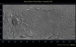 "<h1>PIA08344:  Map of Mimas - December 2006</h1><div class=""PIA08344"" lang=""en"" style=""width:800px;text-align:left;margin:auto;background-color:#000;padding:10px;max-height:150px;overflow:auto;""><p>This global digital map of Saturn's moon Mimas was created using data taken by the Cassini spacecraft, with gaps in coverage filled in by NASA's Voyager spacecraft data. The map is an equidistant projection and has a scale of 400 meters (1,310 feet) per pixel. Equidistant projections preserve distances on a body, with some distortion of area and direction.</p><p>The mean radius of Mimas used for projection of this map is 198 kilometers (123 miles). This map is an update to the version released in December 2005. See <a href=""/catalog/PIA07779"">PIA07779</a>.</p><p>The Cassini-Huygens mission is a cooperative project of NASA, the European Space Agency and the Italian Space Agency. The Jet Propulsion Laboratory, a division of the California Institute of Technology in Pasadena, manages the mission for NASA's Science Mission Directorate, Washington, D.C. The Cassini orbiter and its two onboard cameras were designed, developed and assembled at JPL. The imaging operations center is based at the Space Science Institute in Boulder, Colo.</p><p>For more information about the Cassini-Huygens mission visit <a href=""http://saturn.jpl.nasa.gov"">http://saturn.jpl.nasa.gov/home/index.cfm</a>. The Cassini imaging team homepage is at <a href=""http://ciclops.org"">http://ciclops.org</a>.</p><br /><br /><a href=""http://photojournal.jpl.nasa.gov/catalog/PIA08344"" onclick=""window.open(this.href); return false;"" title=""Voir l'image 	 PIA08344:  Map of Mimas - December 2006	  sur le site de la NASA"">Voir l'image 	 PIA08344:  Map of Mimas - December 2006	  sur le site de la NASA.</a></div>"