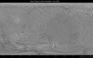 "<h1>PIA08417:  Map of Enceladus</h1><div class=""PIA08417"" lang=""en"" style=""width:800px;text-align:left;margin:auto;background-color:#000;padding:10px;max-height:150px;overflow:auto;""><p>This global map of Saturn's moon Enceladus was created using images taken during Cassini spacecraft flybys, with Voyager images filling in the gaps in Cassini's coverage.</p><p>The map is an equidistant (simple cylindrical) projection and has a scale of 440 meters (1,444 feet) per pixel at the equator. The mean radius of Enceladus used for projection of this map is 252 kilometers (157 miles). This mosaic map is an update to the version released in December 2006 (see <a href=""/catalog/PIA08342"">PIA08342</a>). The mosaic was shifted by 3.5 degrees to the west, compared to the previous version, to be consistent with the International Astronomical Union longitude definition for Enceladus.</p><p>The Cassini-Huygens mission is a cooperative project of NASA, the European Space Agency and the Italian Space Agency. The Jet Propulsion Laboratory, a division of the California Institute of Technology in Pasadena, manages the mission for NASA's Science Mission Directorate, Washington, D.C. The Cassini orbiter and its two onboard cameras were designed, developed and assembled at JPL. The imaging operations center is based at the Space Science Institute in Boulder, Colo.</p><p>For more information about the Cassini-Huygens mission visit <a href=""http://saturn.jpl.nasa.gov"" class=""external free"" target=""wpext"">http://saturn.jpl.nasa.gov/</a>. The Cassini imaging team homepage is at <a href=""http://ciclops.org"" class=""external free"" target=""wpext"">http://ciclops.org</a>.<br /><br /><a href=""http://photojournal.jpl.nasa.gov/catalog/PIA08417"" onclick=""window.open(this.href); return false;"" title=""Voir l'image 	 PIA08417:  Map of Enceladus	  sur le site de la NASA"">Voir l'image 	 PIA08417:  Map of Enceladus	  sur le site de la NASA.</a></div>"