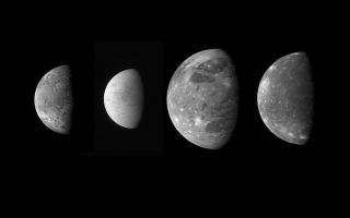 "<h1>PIA09352:  Jupiter's Moons: Family Portrait</h1><div class=""PIA09352"" lang=""en"" style=""width:800px;text-align:left;margin:auto;background-color:#000;padding:10px;max-height:150px;overflow:auto;""><p>This montage shows the best views of Jupiter's four large and diverse ""Galilean"" satellites as seen by the Long Range Reconnaissance Imager (LORRI) on the New Horizons spacecraft during its flyby of Jupiter in late February 2007. The four moons are, from left to right: Io, Europa, Ganymede and Callisto. The images have been scaled to represent the true relative sizes of the four moons and are arranged in their order from Jupiter.<p></p>Io, 3,640 kilometers (2,260 miles) in diameter, was imaged at 03:50 Universal Time on February 28 from a range of 2.7 million kilometers (1.7 million miles). The original image scale was 13 kilometers per pixel, and the image is centered at Io coordinates 6 degrees south, 22 degrees west. Io is notable for its active volcanism, which New Horizons has studied extensively. <p></p>Europa, 3,120 kilometers (1,938 miles) in diameter, was imaged at 01:28 Universal Time on February 28 from a range of 3 million kilometers (1.8 million miles). The original image scale was 15 kilometers per pixel, and the image is centered at Europa coordinates 6 degrees south, 347 degrees west. Europa's smooth, icy surface likely conceals an ocean of liquid water. New Horizons obtained data on Europa's surface composition and imaged subtle surface features, and analysis of these data may provide new information about the ocean and the icy shell that covers it.<p></p>New Horizons spied Ganymede, 5,262 kilometers (3,268 miles) in diameter, at 10:01 Universal Time on February 27 from 3.5 million kilometers (2.2 million miles) away. The original scale was 17 kilometers per pixel, and the image is centered at Ganymede coordinates 6 degrees south, 38 degrees west. Ganymede, the largest moon in the solar system, has a dirty ice surface cut by fractures and peppered by impact craters. New Horizons' infrared observations may provide insight into the composition of the moon's surface and interior.<p></p>Callisto, 4,820 kilometers (2,995 miles) in diameter, was imaged at 03:50 Universal Time on February 28 from a range of 4.2 million kilometers (2.6 million miles). The original image scale was 21 kilometers per pixel, and the image is centered at Callisto coordinates 4 degrees south, 356 degrees west. Scientists are using the infrared spectra New Horizons gathered of Callisto's ancient, cratered surface to calibrate spectral analysis techniques that will help them to understand the surfaces of Pluto and its moon Charon when New Horizons passes them in 2015.</p><br /><br /><a href=""http://photojournal.jpl.nasa.gov/catalog/PIA09352"" onclick=""window.open(this.href); return false;"" title=""Voir l'image 	 PIA09352:  Jupiter's Moons: Family Portrait	  sur le site de la NASA"">Voir l'image 	 PIA09352:  Jupiter's Moons: Family Portrait	  sur le site de la NASA.</a></div>"