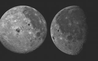 "<h1>PIA00077:  Moon - 2 Views of Orientale Basin</h1><div class=""PIA00077"" lang=""en"" style=""width:800px;text-align:left;margin:auto;background-color:#000;padding:10px;max-height:150px;overflow:auto;""><p>These pictures of the Moon were taken by the Galileo spacecraft at (right photo) 6:47 p.m. PST Dec.8, 1990 from a distance of almost 220,000 miles, and at (left photo) 9:35 a.m. PST Dec. 9, 1990 at a range of more than 350,000 miles. The picture on the right shows the dark Oceanus Procellarum in the upper center, with Mare Imbrium above it and the smaller circular Mare Humorum below. The Orientale Basin, with a small mare in its center, is on the lower left near the limb or edge. Between stretches the cratered highland terrain, with scattered bright young craters on highlands and maria alike. The picture at left shows the globe of the Moon rotated, putting Mare Imbrium on the eastern limb and moving the Orientale Basin almost to the center. The extent of the cratered highlands on the far side is very apparent. At lower left, near the limb, is the South Pole Aitken basin, similar to Orientale but very much older and some 1,200 miles in diameter. This feature was previously known as a large depression in the southern far side; this image shows its Orientale like structure and darkness relative to surrounding highlands.<br /><br /><a href=""http://photojournal.jpl.nasa.gov/catalog/PIA00077"" onclick=""window.open(this.href); return false;"" title=""Voir l'image 	 PIA00077:  Moon - 2 Views of Orientale Basin	  sur le site de la NASA"">Voir l'image 	 PIA00077:  Moon - 2 Views of Orientale Basin	  sur le site de la NASA.</a></div>"