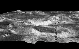 "<h1>PIA00096:  Three-dimensional perspective views of Venusian Terrains composed of reduced resolution left-looking synthetic-aperture radar images merged with altimetry data from the Magellan spacecraft.</h1><div class=""PIA00096"" lang=""en"" style=""width:723px;text-align:left;margin:auto;background-color:#000;padding:10px;max-height:150px;overflow:auto;"">The view shows most of Galindo (V-40) quadrangle looking east; Atete Corona, in the foreground, is a 600-km-long and about 450-km-wide, circular volcano-tectonic feature. Coronae are believed to form over hot upwellings of magma within the Venusian mantle.<br /><br /><a href=""http://photojournal.jpl.nasa.gov/catalog/PIA00096"" onclick=""window.open(this.href); return false;"" title=""Voir l'image 	 PIA00096:  Three-dimensional perspective views of Venusian Terrains composed of reduced resolution left-looking synthetic-aperture radar images merged with altimetry data from the Magellan spacecraft.	  sur le site de la NASA"">Voir l'image 	 PIA00096:  Three-dimensional perspective views of Venusian Terrains composed of reduced resolution left-looking synthetic-aperture radar images merged with altimetry data from the Magellan spacecraft.	  sur le site de la NASA.</a></div>"