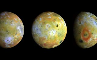 "<h1>PIA00292:  Three Views of Io</h1><div class=""PIA00292"" lang=""en"" style=""width:800px;text-align:left;margin:auto;background-color:#000;padding:10px;max-height:150px;overflow:auto;""><p>Three full-disk color views of Jupiter's volcanic moon Io as seen by NASA's Galileo spacecraft camera are shown in enhanced color (near-infrared-, green-, and violet-filtered images) to highlight details of the surface. Comparisons of these images to those taken by the Voyager spacecraft 17 years ago has revealed many changes have occurred on Io. Since that time, about a dozen areas at least as large as the state of Connecticut have been resurfaced. These three views, taken by Galileo in late June 1996, show about 75 percent of Io's surface. The images reveal that some areas on Io are truly red, whereas much of the surface is yellow or light greenish. The major red areas shown here appear to be closely associated with very recent fragmental volcanic deposits (pyroclastics) erupted in the form of volcanic plumes. The most prominent red oval surrounds the volcano Pele (far right), as previously discovered by Hubble Space Telescope images. An intense red spot lies near the active plume Marduk east of Pele. Other reddish areas are associated with known hot spots or regions that have changed substantially since the Voyager spacecraft flybys of 1979. The reddish deposits may be the products of high-temperature explosive volcanism. There are some curious differences in the overlap region between the images at left and center. There are several especially bright areas in the image at left that appear much darker in the image at center. These may represent transient eruptions or surface materials with unusual light-scattering properties. Several volcanic plumes active during the Voyager flybys in 1979 occurred near the bright limbs or terminator regions of these images, where airborne materials should be detectable. Loki and Amirani appear to be inactive, Volund is active, and Pele may be active but is extremely faint. The plume Marduk also seems to be active, and dark jets of erupting materials can be seen against the disk. Several previously unknown mountains can be seen near the terminators. The Galileo mission is managed by NASA's Jet Propulsion Laboratory.<br /><br /><a href=""http://photojournal.jpl.nasa.gov/catalog/PIA00292"" onclick=""window.open(this.href); return false;"" title=""Voir l'image 	 PIA00292:  Three Views of Io	  sur le site de la NASA"">Voir l'image 	 PIA00292:  Three Views of Io	  sur le site de la NASA.</a></div>"