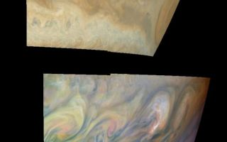 "<h1>PIA01093:  Turbulent Region Near Jupiter's Great Red Spot</h1><div class=""PIA01093"" lang=""en"" style=""width:685px;text-align:left;margin:auto;background-color:#000;padding:10px;max-height:150px;overflow:auto;"">True and false color mosaics of the turbulent region west of Jupiter's Great Red Spot. The Great Red Spot is on the planetary limb on the right hand side of each mosaic. The region west (left) of the Great Red Spot is characterized by large, turbulent structures that rapidly change in appearance. The turbulence results from the collision of a westward jet that is deflected northward by the Great Red Spot into a higher latitude eastward jet. The large eddies nearest to the Great Red Spot are bright, suggesting that convection and cloud formation are active there.<p>The top mosaic combines the violet (410 nanometers) and near infrared continuum (756 nanometers) filter images to create a mosaic similar to how Jupiter would appear to human eyes. Differences in coloration are due to the composition and abundance of trace chemicals in Jupiter's atmosphere. The lower mosaic uses the Galileo imaging camera's three near-infrared (invisible) wavelengths (756 nanometers, 727 nanometers, and 889 nanometers displayed in red, green, and blue) to show variations in cloud height and thickness. Light blue clouds are high and thin, reddish clouds are deep, and white clouds are high and thick. Purple most likely represents a high haze overlying a clear deep atmosphere. Galileo is the first spacecraft to distinguish cloud layers on Jupiter.<p>The mosaic is centered at 16.5 degrees south planetocentric latitude and 85 degrees west longitude. The north-south dimension of the Great Red Spot is approximately 11,000 kilometers. The smallest resolved features are tens of kilometers in size. North is at the top of the picture. The images used were taken on June 26, 1997 at a range of 1.2 million kilometers (1.05 million miles) by the Solid State Imaging (SSI) system on NASA's Galileo spacecraft.<p>The Jet Propulsion Laboratory, Pasadena, CA manages the Galileo mission for NASA's Office of Space Science, Washington, DC. JPL is an operating division of California Institute of Technology (Caltech).<p>This image and other images and data received from Galileo are posted on the World Wide Web, on the Galileo mission home page at URL http://galileo.jpl.nasa.gov.<br /><br /><a href=""http://photojournal.jpl.nasa.gov/catalog/PIA01093"" onclick=""window.open(this.href); return false;"" title=""Voir l'image 	 PIA01093:  Turbulent Region Near Jupiter's Great Red Spot	  sur le site de la NASA"">Voir l'image 	 PIA01093:  Turbulent Region Near Jupiter's Great Red Spot	  sur le site de la NASA.</a></div>"