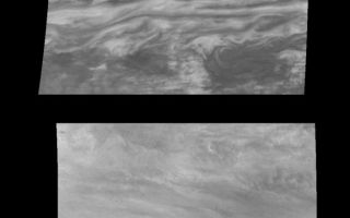 "<h1>PIA01115:  Jupiter's Belt-Zone Boundary in Near-Infrared and Violet Light</h1><div class=""PIA01115"" lang=""en"" style=""width:705px;text-align:left;margin:auto;background-color:#000;padding:10px;max-height:150px;overflow:auto;"">Mosaics of a belt-zone boundary near Jupiter's equator in violet (top panel) and near-infrared (bottom panel) light. The four images that make up each of these mosaics were taken within a few minutes of each other. Sunlight at 757 nanometers (near-infrared) penetrates deep into Jupiter's troposphere before being absorbed or scattered by clouds to the Galileo spacecraft. This wavelength reveals the features of the lower visible cloud deck. Sunlight at 415 nanometers (violet) is a scattered or absorbed to varying degrees in different parts of Jupiter's atmosphere depending on the types and concentrations of cloud particles and chemicals that color Jupiter's atmosphere. The near-infrared mosaic primarily shows cloud features. The violet mosaic has three distinct regions: it is brightest at the latitude of the jet (horizontally across the center of the mosaic), moderately bright north of the jet, and dark and patchy south of the jet.<p>North is at the top. The mosaic covers latitudes -13 to +3 degrees and is centered at longitude 282 degrees West. The smallest resolved features are tens of kilometers in size. These images were taken on November 5th, 1996, at a range of 1.2 million kilometers by the Solid State Imaging system aboard NASA's Galileo spacecraft.<p>The Jet Propulsion Laboratory, Pasadena, CA manages the mission for NASA's Office of Space Science, Washington, DC.<p>This image and other images and data received from Galileo are posted on the World Wide Web, on the Galileo mission home page at URL http://galileo.jpl.nasa.gov. Background information and educational context for the images can be found at <a href=""http://www2.jpl.nasa.gov/galileo/sepo/"" target=""_blank"">http://www.jpl.nasa.gov/galileo/sepo</a>..<br /><br /><a href=""http://photojournal.jpl.nasa.gov/catalog/PIA01115"" onclick=""window.open(this.href); return false;"" title=""Voir l'image 	 PIA01115:  Jupiter's Belt-Zone Boundary in Near-Infrared and Violet Light	  sur le site de la NASA"">Voir l'image 	 PIA01115:  Jupiter's Belt-Zone Boundary in Near-Infrared and Violet Light	  sur le site de la NASA.</a></div>"