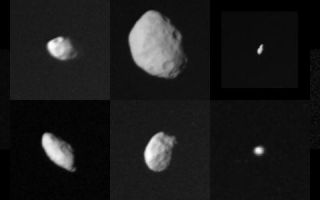 "<h1>PIA01954:  Collage of Saturn's smaller satellites</h1><div class=""PIA01954"" lang=""en"" style=""width:750px;text-align:left;margin:auto;background-color:#000;padding:10px;max-height:150px;overflow:auto;"">This family portrait shows the smaller satellites of Saturn as viewed by Voyager 2 during its swing through the Saturnian system. The following chart corresponds to this composite photograph (distance from the planet increases from left to right) and lists names, standard numerical designations and approximate dimensions (radii where indicated) in kilometers:<p>  1980S26<p>Outer F-ring<p>shepherd<p>120 X 100  1980S1<p>Leading<p>co-orbital<p>220 X 160 1980S25<p>Trailing<p>Tethys trojan<p>radii: 25 1980S28<p>Outer A<p>shepherd<p>radii: 20 1980S27<p>Inner F-ring<p>co-orbital<p>145 X 70 1980S3<p>Trailing<p>Tethys trojan<p>140 X 100 1980S13<p>Leading<p>Tethys trojan<p>radii: 30 1980S6<p>Leading<p>Dione trojan<p>radii: 30 These images have been scaled to show the satellites in true relative sizes. This set of small objects ranges in size from small asteroidal scales to nearly the size of Saturn's moon Mimas. They are probably fragments of somewhat larger bodies broken up during the bombardment period that followed accretion of the Saturnian system. Scientists believe they may be mostly icy bodies with a mixture of meteorite rock. They are somewhat less reflective than the larger satellites, suggesting that thermal evolution of the larger moons ""cleaned up"" their icy surfaces. The Voyager project is managed for NASA by the Jet Propulsion Laboratory, Pasadena, Calif.<br /><br /><a href=""http://photojournal.jpl.nasa.gov/catalog/PIA01954"" onclick=""window.open(this.href); return false;"" title=""Voir l'image 	 PIA01954:  Collage of Saturn's smaller satellites	  sur le site de la NASA"">Voir l'image 	 PIA01954:  Collage of Saturn's smaller satellites	  sur le site de la NASA.</a></div>"