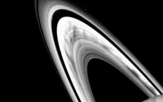 "<h1>PIA02274:  Saturn's B-ring</h1><div class=""PIA02274"" lang=""en"" style=""width:408px;text-align:left;margin:auto;background-color:#000;padding:10px;max-height:150px;overflow:auto;"">Prominent dark spokes are visible in the outer half of Saturn's broad B-ring in this Voyager 2 photograph taken on Aug. 3, 1981 from a range of about 22 million kilometers (14 million miles). The features appear as filamentary markings about 12,000 kilometers (7,S00 miles) long, which rotate around the planet with the motion of particles in the rings. The nature of these features, discovered by Voyager 1, is not totally understood, but scientists believe the spokes may be caused by dust levitated above the ring plane by electric fields; Voyager 2 photography of the rings edge-on, scheduled for Aug. 25, 1981, will provide an opportunity to test that theory. Because the Sun is now illuminating the rings from a higher angle, Voyager 2's photographs reveal ring structure from a greater distance than that seen by Voyager 1 in its November 1980 encounter. The Voyager project is managed for NASA by the Jet Propulsion Laboratory, Pasadena, Calif.<br /><br /><a href=""http://photojournal.jpl.nasa.gov/catalog/PIA02274"" onclick=""window.open(this.href); return false;"" title=""Voir l'image 	 PIA02274:  Saturn's B-ring	  sur le site de la NASA"">Voir l'image 	 PIA02274:  Saturn's B-ring	  sur le site de la NASA.</a></div>"