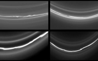 "<h1>PIA07522:  Four Views of the F Ring</h1><div class=""PIA07522"" lang=""en"" style=""width:800px;text-align:left;margin:auto;background-color:#000;padding:10px;max-height:150px;overflow:auto;""><p>This montage of four images of Saturn's knotted F ring shows different locations around the ring, even though all taken within a few hours of each other. There is considerable variation in the structure of the ring at these four locations.</p><p>For example, the number of ring strands differs from image to image. And in some images, kinks are clearly visible in the ring, while others regions appear more smooth.</p><p>Astronomers believe that the structure of Saturn's F ring is governed by its shepherding moons, Prometheus (102 kilometers, or 63 miles across) and Pandora (84 kilometers, or 52 miles across). The ring's appearance is expected to vary depending on how recently a ring section has encountered each moon and how close the moon came to the ring.</p><p>These images were taken in visible light with the Cassini spacecraft narrow-angle camera on May 3 and 4, 2005, from below the ringplane and at distances ranging from 735,000 to 952,000 kilometers (457,000 to 592,000 miles) from Saturn. The image scale ranges from 4 to 6 kilometers (2 to 4 miles) per pixel. </p><p>The Cassini-Huygens mission is a cooperative project of NASA, the European Space Agency and the Italian Space Agency. The Jet Propulsion Laboratory, a division of the California Institute of Technology in Pasadena, manages the mission for NASA's Science Mission Directorate, Washington, D.C. The Cassini orbiter and its two onboard cameras were designed, developed and assembled at JPL. The imaging team is based at the Space Science Institute, Boulder, Colo.</p><p>For more information about the Cassini-Huygens mission visit <a href=""http://saturn.jpl.nasa.gov"">http://saturn.jpl.nasa.gov</a>. For additional images visit the Cassini imaging team homepage <a href=""http://ciclops.org"">http://ciclops.org</a>.</p><br /><br /><a href=""http://photojournal.jpl.nasa.gov/catalog/PIA07522"" onclick=""window.open(this.href); return false;"" title=""Voir l'image 	 PIA07522:  Four Views of the F Ring	  sur le site de la NASA"">Voir l'image 	 PIA07522:  Four Views of the F Ring	  sur le site de la NASA.</a></div>"