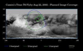 "<h1>PIA07711:  Cassini's Aug. 22, 2005, Titan Flyby</h1><div class=""PIA07711"" lang=""en"" style=""width:800px;text-align:left;margin:auto;background-color:#000;padding:10px;max-height:150px;overflow:auto;""><p>This map of Titan's surface illustrates the regions that will be imaged by Cassini during the spacecraft's close flyby of Titan on Aug. 22, 2005. At closest approach, the spacecraft is expected to pass approximately 3,800 kilometers (2,360 miles) above the moon's surface. At 5,150 kilometers (3,200 miles) across, Titan is one of the solar system's largest moons.</p><p>The colored lines delineate the regions that will be imaged at differing resolutions.</p><p>As Cassini continues its reconnaissance of Titan, maps of this haze-enshrouded world continue to improve. Images from this flyby will sharpen the moderate resolution coverage of terrain on the side of Titan that always faces Saturn.</p><p>The highest resolution image planned for this encounter will cover a 215-kilometer-wide (134-mile) bright feature provisionally named ""Bazaruto Facula."" (A facula is the name chosen to denote a bright spot on Titan.) At the center of the facula is an 80-kilometer-wide (50-mile) crater (not yet named), seen by Cassini's radar experiment during a Titan flyby in February 2005 (see <a href=""/catalog/PIA07368"">PIA07368</a>). The imaging cameras and visual and infrared mapping spectrometer images taken in March and April 2005 also show this crater (see <a href=""/catalog/PIA06234"">PIA06234</a>).</p><p>The southernmost corner of the highest resolution (1 kilometer per pixel) frame should also cover the northern portion of a large bright feature provisionally known as ""Quivira.""</p><p>Wide-angle images obtained during this flyby should cover much of the Tsegihi-Aztlan-Quivira region (also known as the ""H"" region) at lower resolution.</p><p>The map shows only brightness variations on Titan's surface (the illumination is such that there are no shadows and no shading from topographic variations). Previous observations indicate that, due to Titan's thick, hazy atmosphere, the sizes of surface features that can be resolved are up to five times larger than the actual pixel scale labeled on the map.</p><p>The images for this global map were obtained using a narrow-band filter centered at 938 nanometers -- a near-infrared wavelength (invisible to the human eye) at which light can penetrate Titan's atmosphere. The images have been processed to enhance surface details. </p><p>The Cassini-Huygens mission is a cooperative project of NASA, the European Space Agency and the Italian Space Agency. The Jet Propulsion Laboratory, a division of the California Institute of Technology in Pasadena, manages the mission for NASA's Science Mission Directorate, Washington, D.C. The Cassini orbiter and its two onboard cameras were designed, developed and assembled at JPL. The imaging team is based at the Space Science Institute, Boulder, Colo.</p><p>For more information about the Cassini-Huygens mission visit <a href=""http://saturn.jpl.nasa.gov"">http://saturn.jpl.nasa.gov</a>. For additional images visit the Cassini imaging team homepage <a href=""http://ciclops.org"">http://ciclops.org</a>.<br /><br /><a href=""http://photojournal.jpl.nasa.gov/catalog/PIA07711"" onclick=""window.open(this.href); return false;"" title=""Voir l'image 	 PIA07711:  Cassini's Aug. 22, 2005, Titan Flyby	  sur le site de la NASA"">Voir l'image 	 PIA07711:  Cassini's Aug. 22, 2005, Titan Flyby	  sur le site de la NASA.</a></div>"