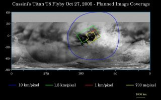 "<h1>PIA07751:  Cassini's Oct. 28, 2005, Titan Flyby</h1><div class=""PIA07751"" lang=""en"" style=""width:800px;text-align:left;margin:auto;background-color:#000;padding:10px;max-height:150px;overflow:auto;""><p>This map of Titan's surface illustrates the regions that will be viewed by Cassini's imaging cameras during the spacecraft's close flyby of Titan on Oct. 28, 2005. At closest approach, the spacecraft is expected to pass approximately 1,400 kilometers (800 miles) above the moon's surface.</p><p>The colored lines delineate the regions that will be imaged at differing resolutions.</p><p>The highest resolution imaging coverage during the flyby will be of the eastern portion of the dark region called Shangri-la and the boundary between Shangri-la and bright Xanadu. Several of the major ""islands"" in eastern Shangri-la will be featured, including faculae (or bright spots) which have the provisional names Kerguelen, Vis, Crete and Tortola. These bright features on Titan are named for island features from Earth.</p><p>The map shows only brightness variations on Titan's surface (the illumination is such that there are no shadows and no shading due to topographic variations). Previous observations indicate that, due to Titan's thick, hazy atmosphere, the sizes of surface features that can be resolved are a few to five times larger than the actual pixel scale labeled on the map.</p><p>The images for this global map were obtained using a narrow band filter centered at 938 nanometers - a near-infrared wavelength (invisible to the human eye) at which light can penetrate Titan's atmosphere to reach the surface and return through the atmosphere to be detected by the camera. The images have been processed to enhance surface details.The Cassini-Huygens mission is a cooperative project of NASA, the European Space Agency and the Italian Space Agency.  The Jet Propulsion Laboratory, a division of the California Institute of Technology in Pasadena, manages the mission for NASA's Science Mission Directorate, Washington, D.C. The Cassini orbiter and its two onboard cameras were designed, developed and assembled at JPL.  The imaging operations center is based at the Space Science Institute in Boulder, Colo.</p><p>For more information about the Cassini-Huygens mission visit <a href=""http://saturn.jpl.nasa.gov"">http://saturn.jpl.nasa.gov</a>. The Cassini imaging team homepage is at <a href=""http://ciclops.org"">http://ciclops.org</a>.</p><br /><br /><a href=""http://photojournal.jpl.nasa.gov/catalog/PIA07751"" onclick=""window.open(this.href); return false;"" title=""Voir l'image 	 PIA07751:  Cassini's Oct. 28, 2005, Titan Flyby	  sur le site de la NASA"">Voir l'image 	 PIA07751:  Cassini's Oct. 28, 2005, Titan Flyby	  sur le site de la NASA.</a></div>"