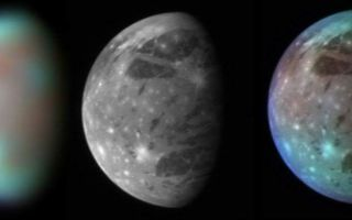 "<h1>PIA09356:  Ganymede in Visible and Infrared Light</h1><div class=""PIA09356"" lang=""en"" style=""width:800px;text-align:left;margin:auto;background-color:#000;padding:10px;max-height:150px;overflow:auto;""><p>This montage compares New Horizons' best views of Ganymede, Jupiter's largest moon, gathered with the spacecraft's Long Range Reconnaissance Imager (LORRI) and its infrared spectrometer, the Linear Etalon Imaging Spectral Array (LEISA). <p></p>LEISA observes its targets in more than 200 separate wavelengths of infrared light, allowing detailed analysis of their surface composition. The LEISA image shown here combines just three of these wavelengths -- 1.3, 1.8 and 2.0 micrometers -- to highlight differences in composition across Ganymede's surface. Blue colors represent relatively clean water ice, while brown colors show regions contaminated by dark material.<p></p>The right panel combines the high-resolution grayscale LORRI image with the color-coded compositional information from the LEISA image, producing a picture that combines the best of both data sets.<p></p>The LEISA and LORRI images were taken at 9:48 and 10:01 Universal Time, respectively, on February 27, 2007, from a range of 3.5 million kilometers (2.2 million miles). The longitude of the disk center is 38 degrees west. With a diameter of 5,268 kilometers (3,273 miles), Ganymede is the largest satellite in the solar system.</p><br /><br /><a href=""http://photojournal.jpl.nasa.gov/catalog/PIA09356"" onclick=""window.open(this.href); return false;"" title=""Voir l'image 	 PIA09356:  Ganymede in Visible and Infrared Light	  sur le site de la NASA"">Voir l'image 	 PIA09356:  Ganymede in Visible and Infrared Light	  sur le site de la NASA.</a></div>"